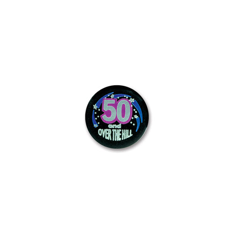 50 & Over The Hill Satin Button, Size 2""