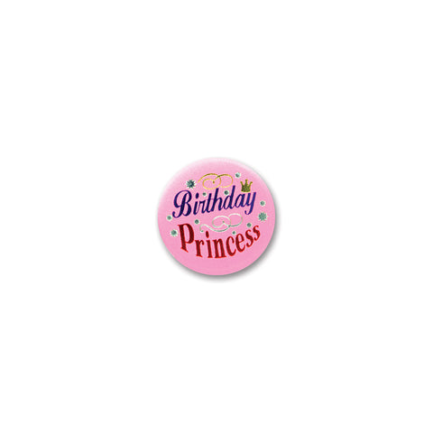 Birthday Princess Satin Button, Size 2""