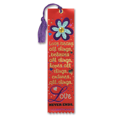 "Love Bears All Things Jeweled Bookmark, Size 2"" x 7¾"""