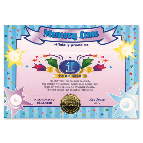 "1 Year Old  (Boy) Certificate, Size 5"" x 7"""