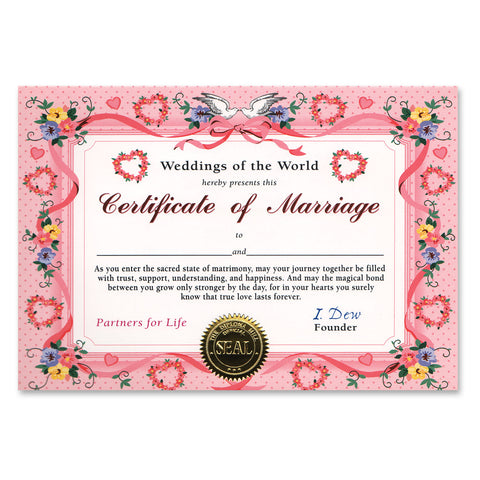 "Certificate Of Marriage, Size 5"" x 7"""