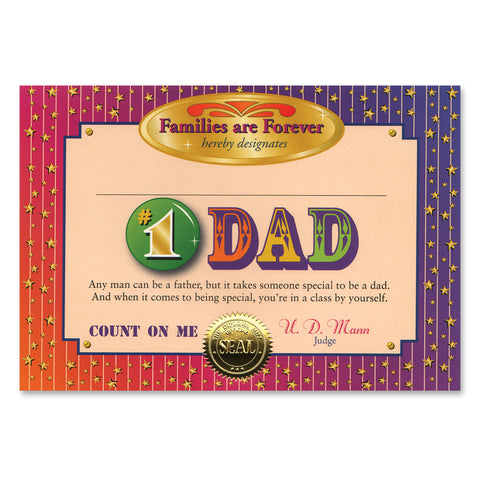 "#1 Dad Certificate, Size 5"" x 7"""