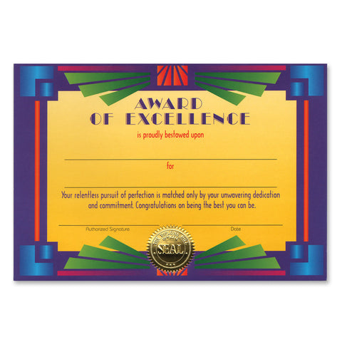 "Award Of Excellence Certificate, Size 5"" x 7"""