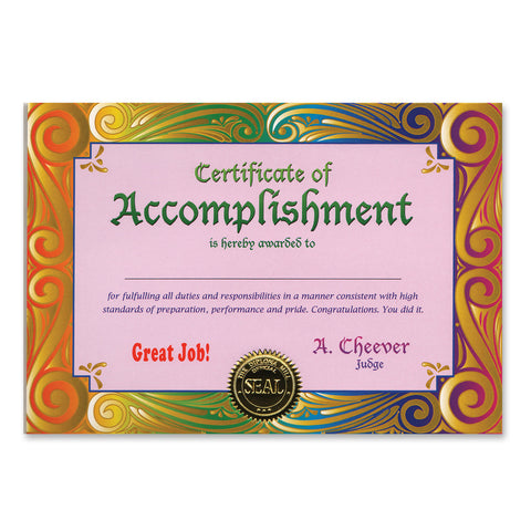 "Certificate Of Accomplishment, Size 5"" x 7"""