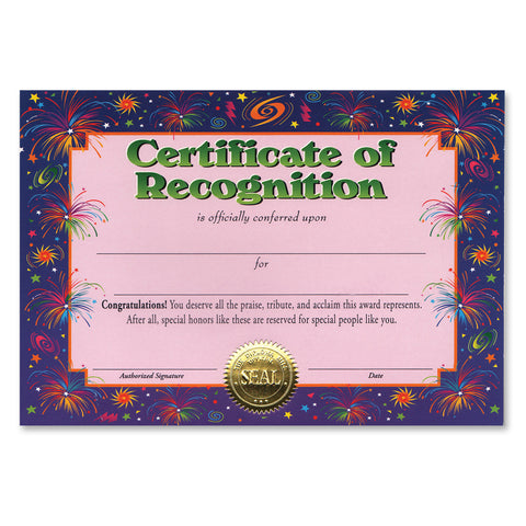 "Certificate Of Recognition, Size 5"" x 7"""