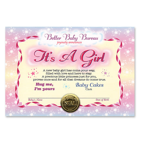 "It's A Girl Certificate, Size 5"" x 7"""