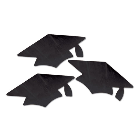 Black Metallic Grad Cap Recortes, Size 5½""