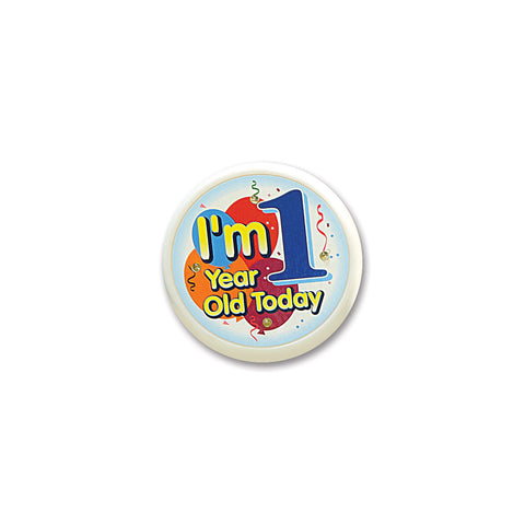 I'm 1 Year Old Today Flashing Button, Size 2½""