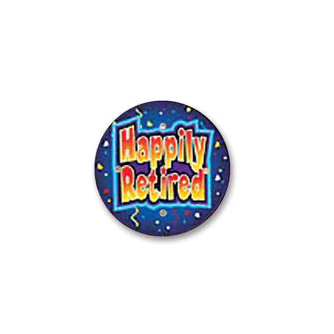 Happily Retired Flashing Button, Size 2½""