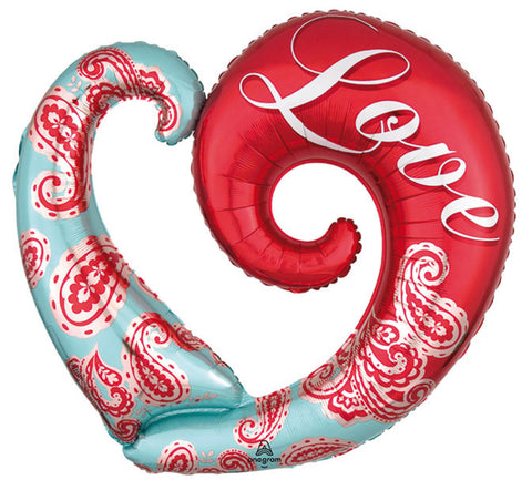 "32"" Supershape, Amor, Diseño Paisley Heart Supershape"