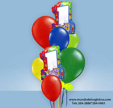 Bouquet You are Number One con Uno y Estrellas, Globos de Colores