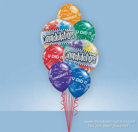 Bouquet de Burbujas Congratulations con Globos de Colores Congratz You Did It!