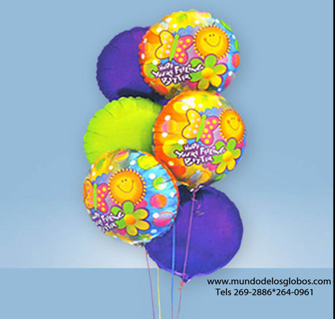 Bouquet de Globos Hope Your Are Feeling Better con Globos de Colores