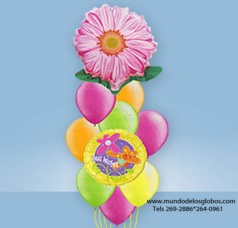 Bouquet de Globos Get Well Soon con Flor Gigante y Globos de Colores