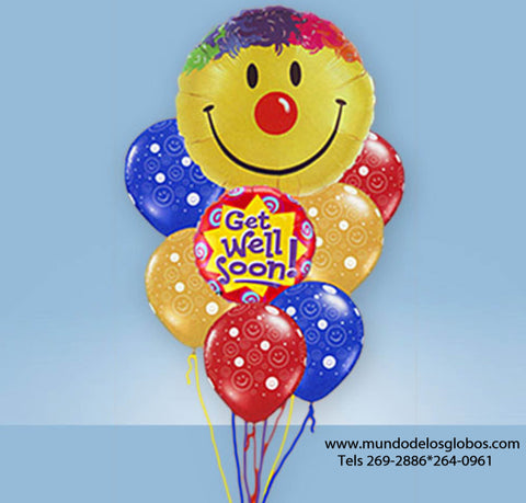 Bouquet Get Well Soon con Carita Feliz Gigante y Globos de Colores