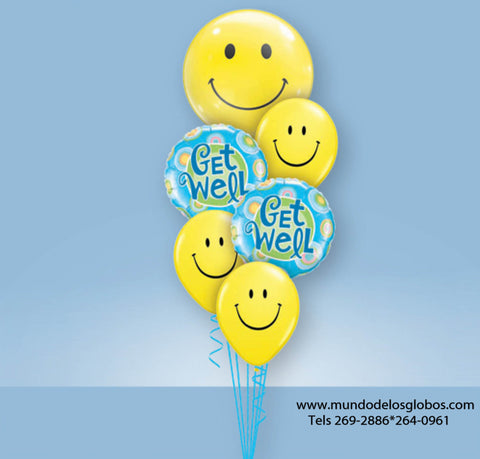 Bouquet Get Well Soon con Globos de Caritas Felices