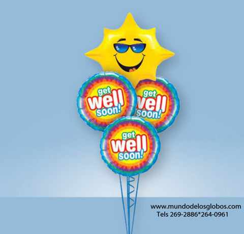 Bouquet de Get Well Soon con Arcoiris y Globo de Sol