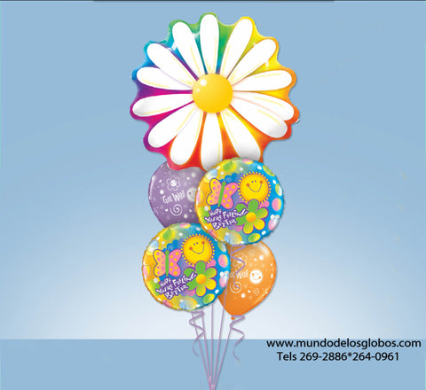 Bouquet de Margarita Gigante con Globos Hope You Are Feeling Better y Globos Get Well de Colores