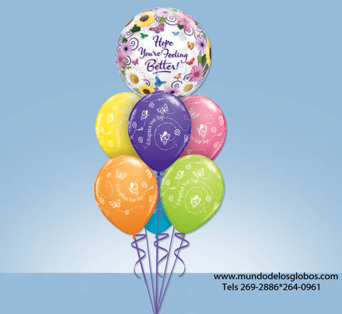 Bouquet de Burbuja Grande Hope You Are Feeling Better con Globos de Colores To Brighten Your Day