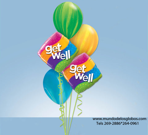 Bouquet de Diamantes Get Well con Globos de Colores Tie Dye