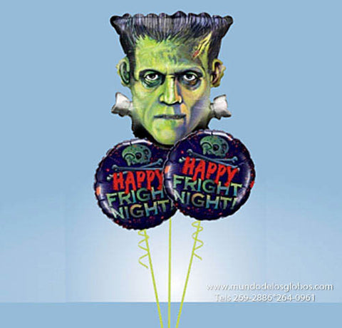 Bouquet de Halloween, Happy Fright Night con Globo de Frankenstein