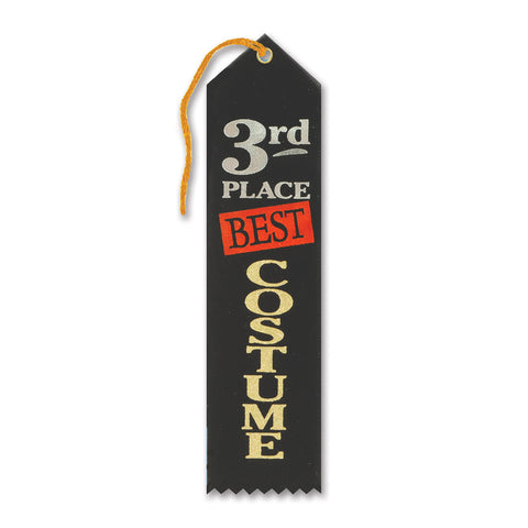 "Best Costume 3rd Place Award Ribbon, Size 2"" x 8"""