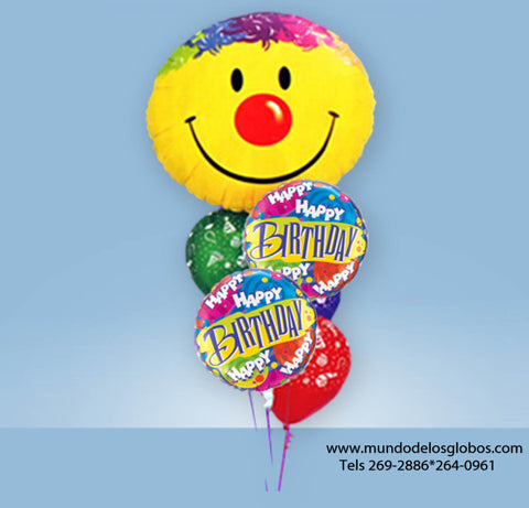 Bouquet Happy Birthday con Carita Feliz y Globos de Colores