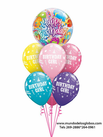 Bouquet Happy Birthday con Burbuja con Regalos y Globos de Colores Birthday Boy
