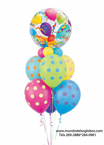 Bouquet Happy Birthday con burbuja con Serpentinas y Globos de Colores con Bolas de Colores