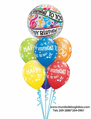 Bouquet Happy Birthday con Burbuja Happy Birthday To You! y Globos de Colores con Notas Musicales