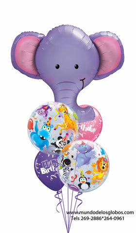 Bouquet Happy Birthday con Elefante Gigante, Burbujas con Animales y Globos de Colores