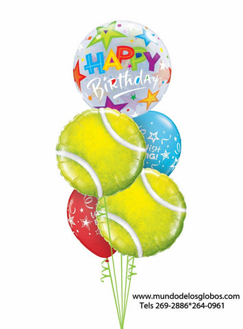 Bouquet Happy Birthday con Burbuja de Estrellas, Globos de Bolas de Tennis, y Globos de Colores Wish Big!