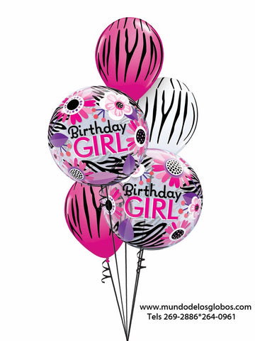 Bouquet Happy Birthday con Burbujas Birthday Girl con Flores y Globos de Pieles de Animales