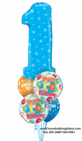 Bouquet Happy Birthday con Numero Uno Gigante Celeste con Estrellas, Globos Happy 1st Birthday y Globos de Colores Birthday Boy