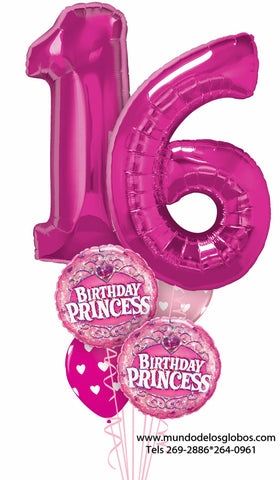 Bouquet Happy Birthday, Sweet Sixteen con Numero 16 Gigante, Globos Rosa con Corazones, y Globos Birthday Princess
