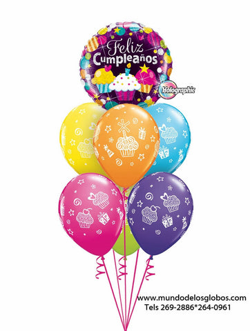 Bouquet Happy Birthday con Cupcakes y Globos de Cupcakes de Colores