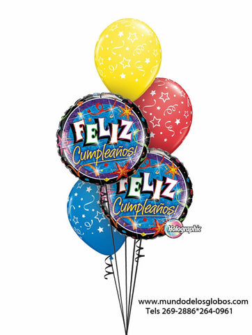 Bouquet Happy Birthday con Globos de Colores con Estrellas y Serpentinas