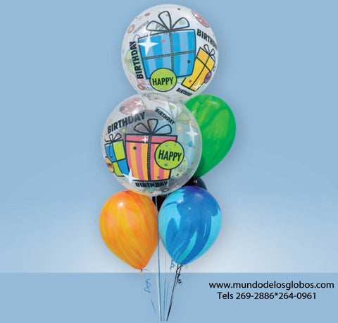Bouquet Happy Birthday con Burbujas con Regalos y Globos Tie Dye