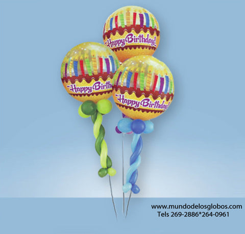 Bouquet Happy Birthday en Forma de Maracas y Globos de Pastel