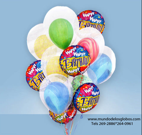 Bouquet Happy Birthday con Burbujas con Globos de Colores