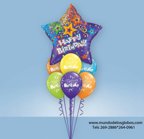 Bouquet Happy Birthday con Estrella Gigante y Globos de Colores