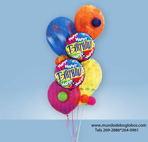 Bouquet Happy Birthday con Globos Circulares y de Colores