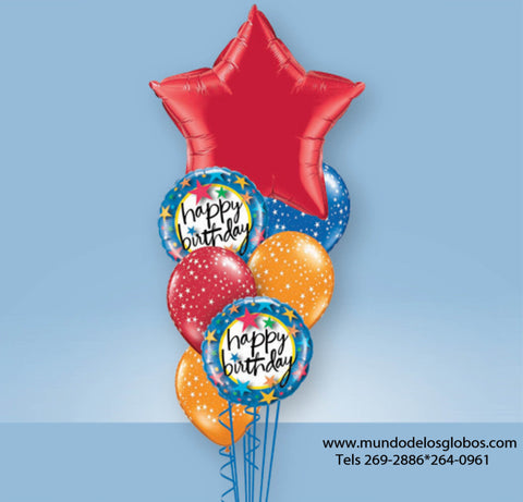 Bouquet Happy Birthday con Estrella Roja Gigante y Globos de Colores