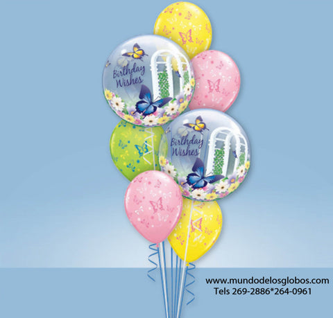 Bouquet Happy Birthday, Birthday Wishes y Globos de Colores con Mariposas