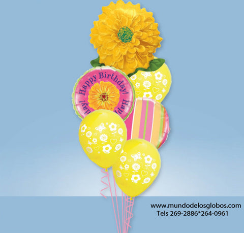 Bouquet Happy Birthday con Flor y Globos de Colores