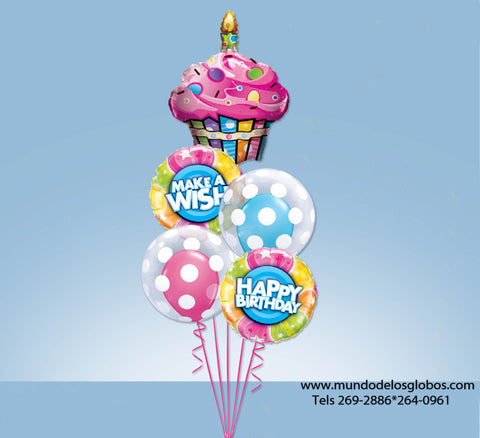 Bouquet Happy Birthday Make A Wish con Cupcake y Burbujas con Globos de Colores
