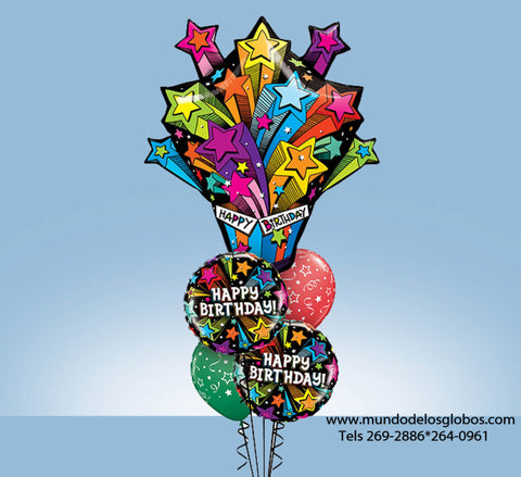 Bouquet Happy Birthday con Regalo Explosivo Gigante y Globos de Estrellas de Colores