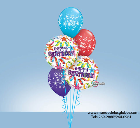 Bouquet Happy Birthday con Serpentinas y Globos de Colores Wish Big!