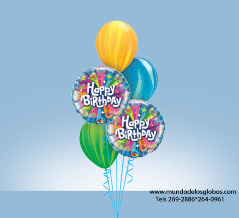 Bouquet Happy Birthday con Globos Tie Dye de Colores
