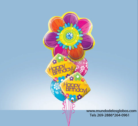 Bouquet Happy Birthday con Flor Gigante, Diamantes y Globos de Colores